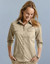 Ladies` Roll 3/4 Sleeve Fitted Twill Shirt